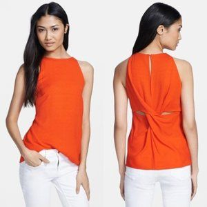 A.L.C. Orange Crossover Lily Back Twist Tank Top